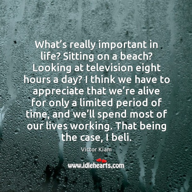 What's really important in life? sitting on a beach? looking at television eight hours a day? Victor Kiam Picture Quote