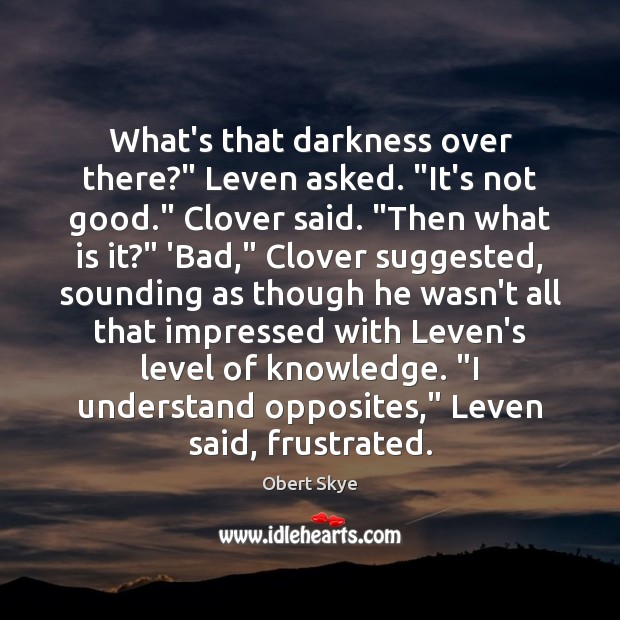 """What's that darkness over there?"""" Leven asked. """"It's not good."""" Clover said. """" Obert Skye Picture Quote"""