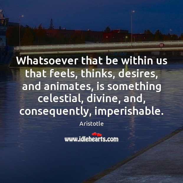 Image, Whatsoever that be within us that feels, thinks, desires, and animates, is