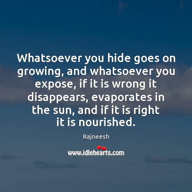 Whatsoever you hide goes on growing, and whatsoever you expose, if it Image