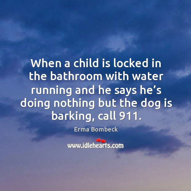 Image, When a child is locked in the bathroom with water running and he says he's doing nothing but the dog is barking, call 911.