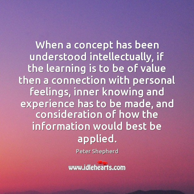When a concept has been understood intellectually, if the learning is to Image