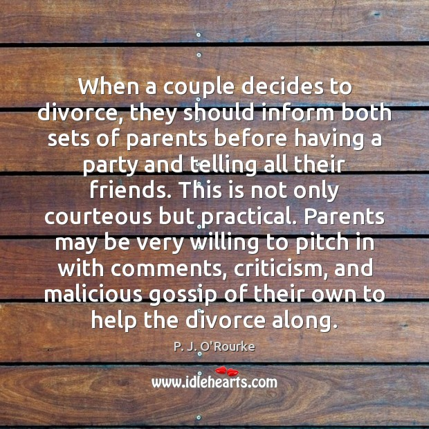When a couple decides to divorce, they should inform both sets of Image