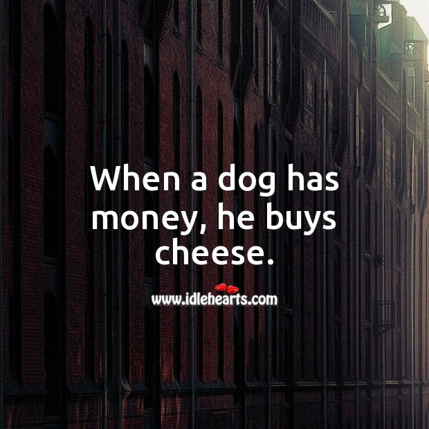 When a dog has money, he buys cheese. Jamaican Proverbs Image