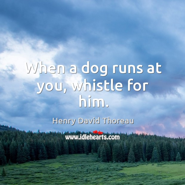 When a dog runs at you, whistle for him. Image