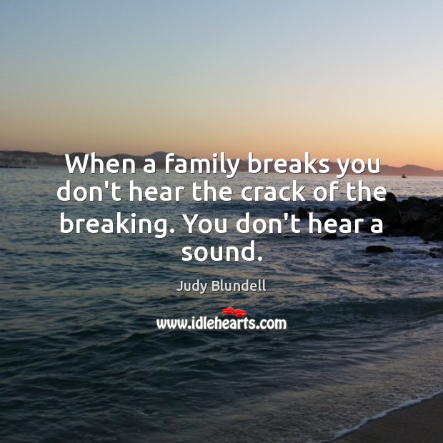 When a family breaks you don't hear the crack of the breaking. You don't hear a sound. Judy Blundell Picture Quote