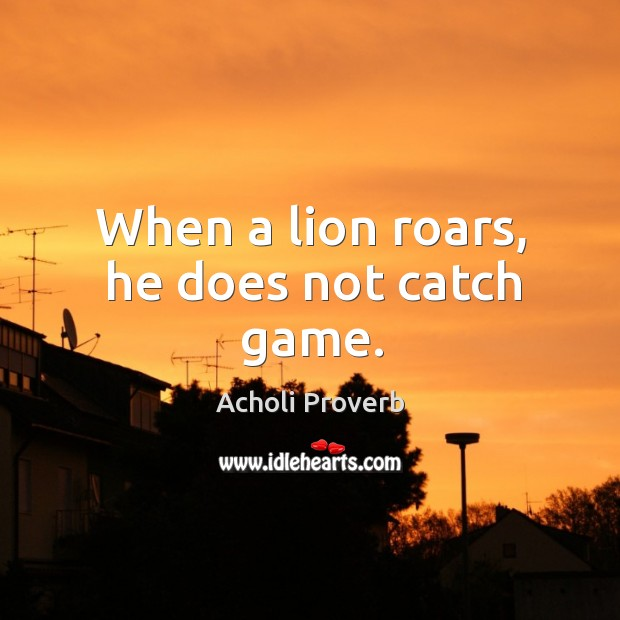 When a lion roars, he does not catch game. Acholi Proverbs Image