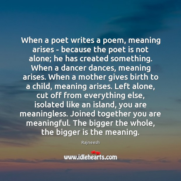 Image, When a poet writes a poem, meaning arises – because the poet