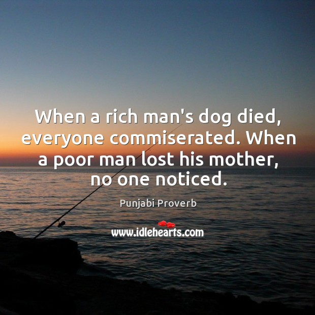 When a poor man lost his mother, no one noticed. Punjabi Proverbs Image