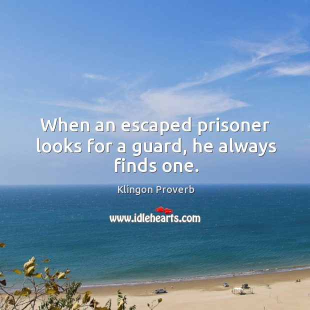 When an escaped prisoner looks for a guard, he always finds one. Klingon Proverbs Image