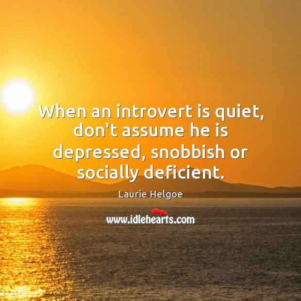 When an introvert is quiet, don't assume he is depressed, snobbish or socially deficient. Image