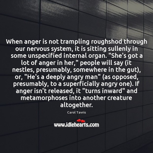Image, When anger is not trampling roughshod through our nervous system, it is