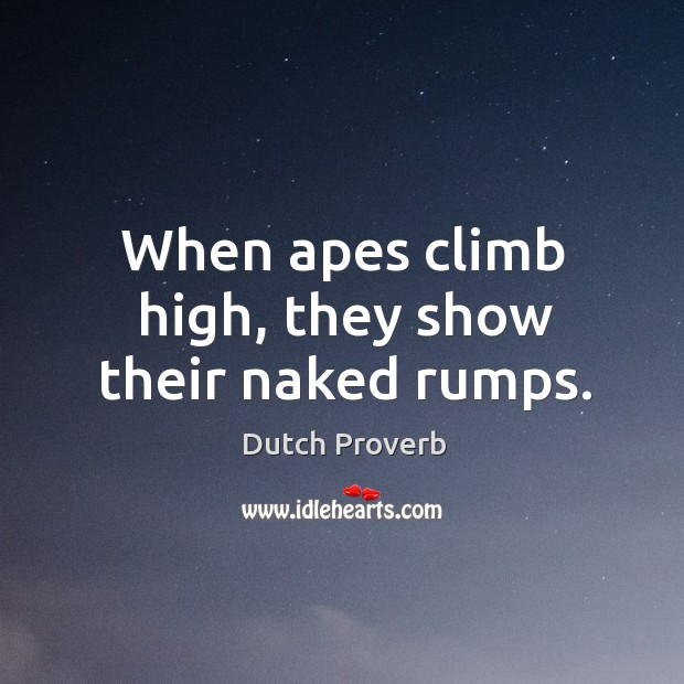 When apes climb high, they show their naked rumps. Dutch Proverbs Image