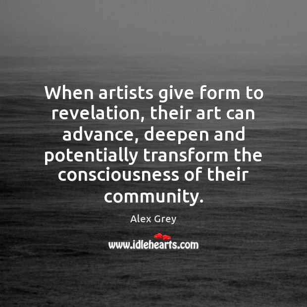 Image, When artists give form to revelation, their art can advance, deepen and