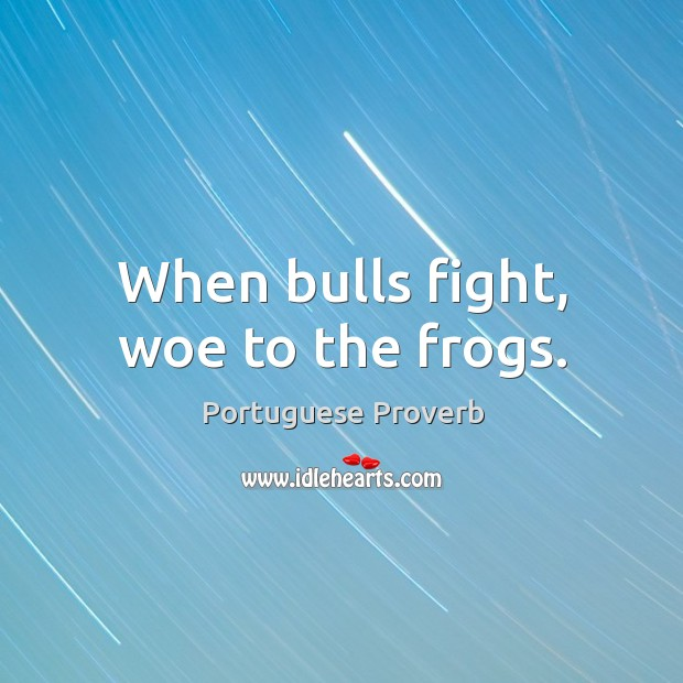 When bulls fight, woe to the frogs. Image
