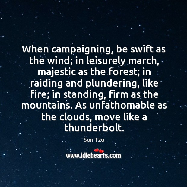 When campaigning, be swift as the wind; in leisurely march, majestic as Image
