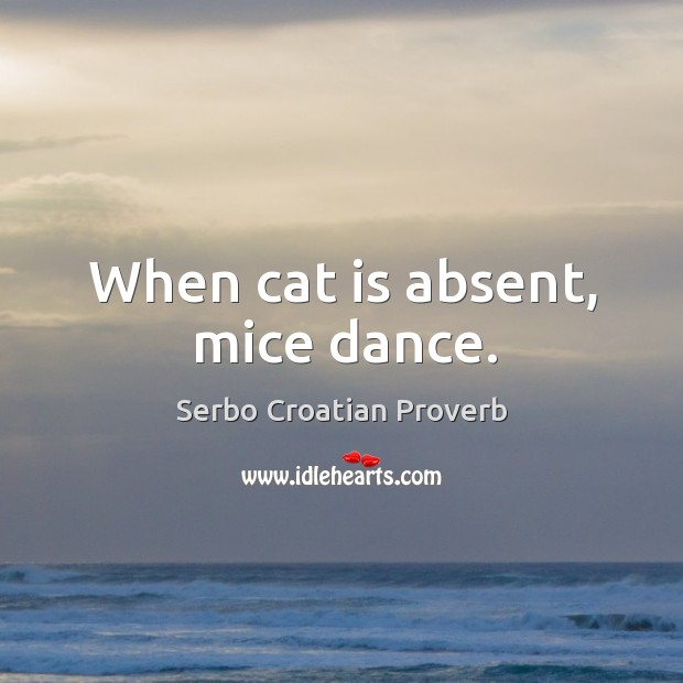 Image, When cat is absent, mice dance.