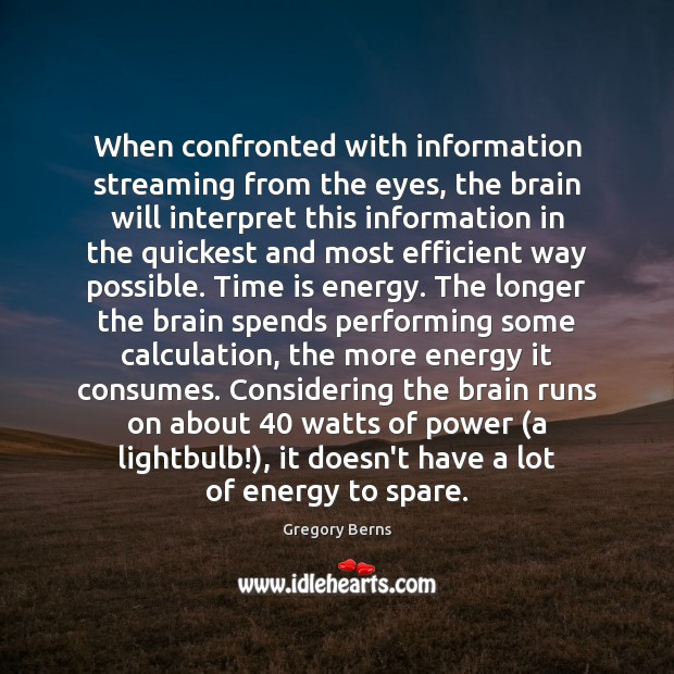 When confronted with information streaming from the eyes, the brain will interpret Image