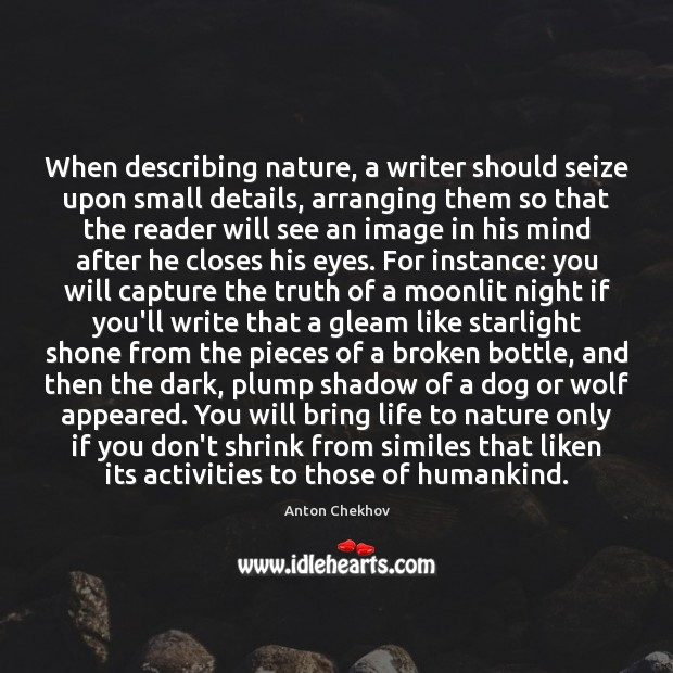 Image, When describing nature, a writer should seize upon small details, arranging them
