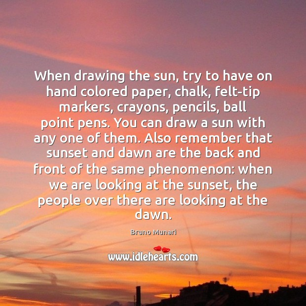 Image, When drawing the sun, try to have on hand colored paper, chalk,