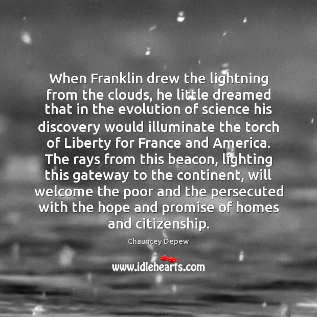 Image, When Franklin drew the lightning from the clouds, he little dreamed that