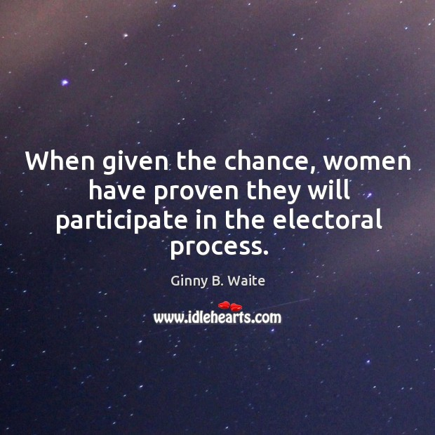 Image, When given the chance, women have proven they will participate in the electoral process.