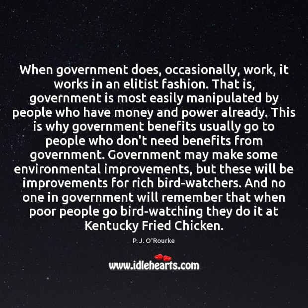 When government does, occasionally, work, it works in an elitist fashion. That Image
