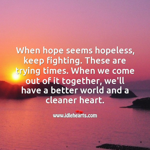 When hope seems hopeless, keep fighting. Encouraging Quotes Image