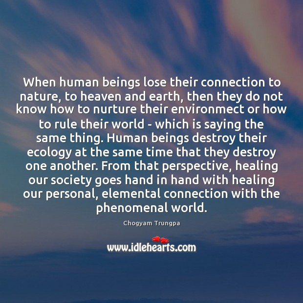 When human beings lose their connection to nature, to heaven and earth, Chogyam Trungpa Picture Quote