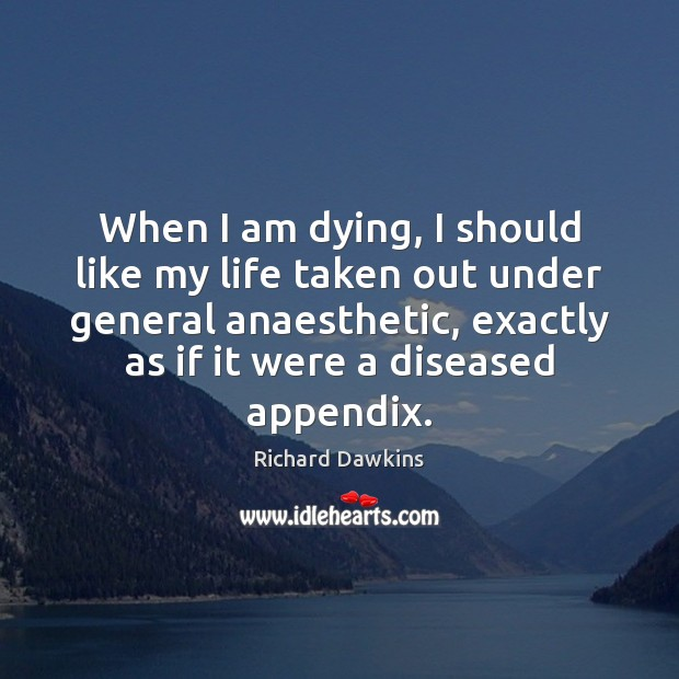 Image, When I am dying, I should like my life taken out under