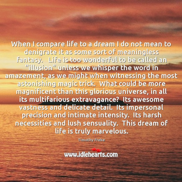When I compare life to a dream I do not mean to Image