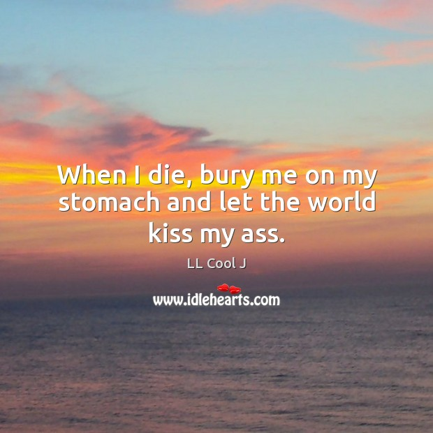 When I die, bury me on my stomach and let the world kiss my ass. LL Cool J Picture Quote