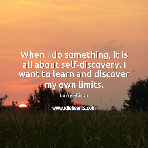 When I do something, it is all about self-discovery. I want to Larry Ellison Picture Quote