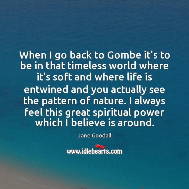 When I go back to Gombe it's to be in that timeless Jane Goodall Picture Quote