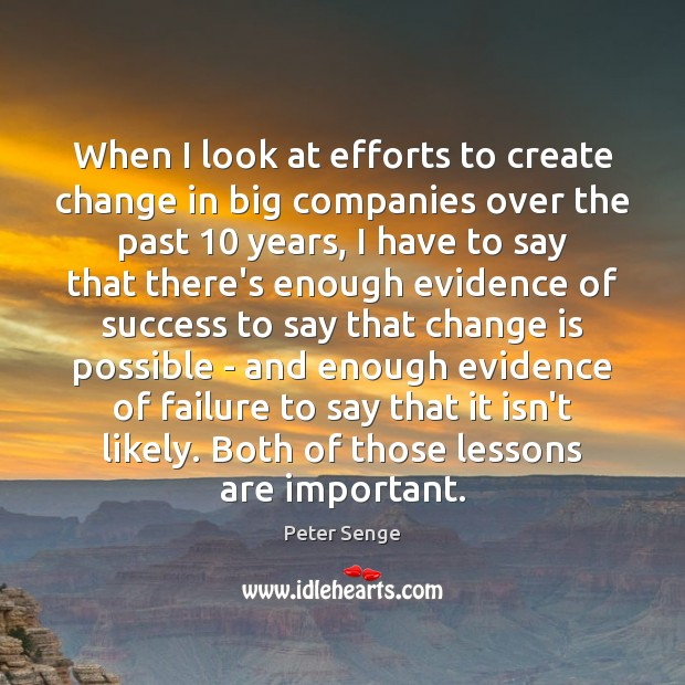 When I look at efforts to create change in big companies over Peter Senge Picture Quote