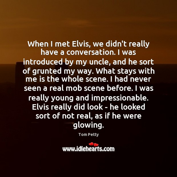 When I met Elvis, we didn't really have a conversation. I was Tom Petty Picture Quote
