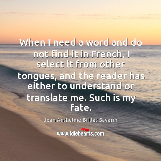 When I need a word and do not find it in French, Image