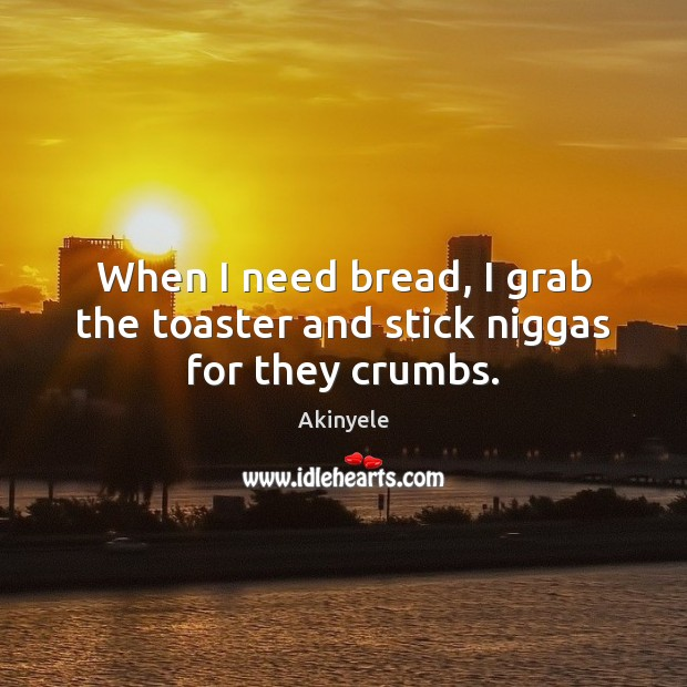 Image, When I need bread, I grab the toaster and stick niggas for they crumbs.