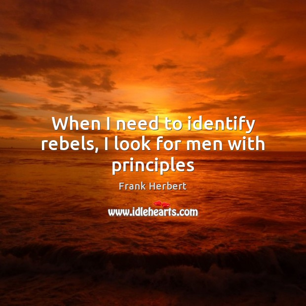 Image, When I need to identify rebels, I look for men with principles