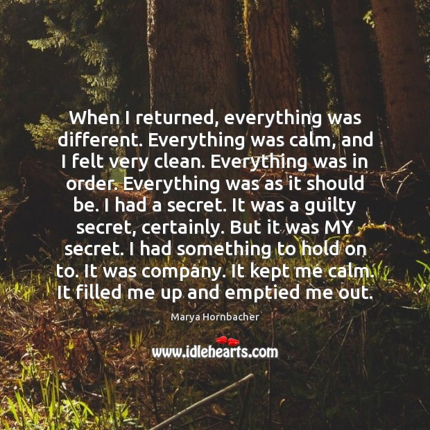 When I returned, everything was different. Everything was calm, and I felt Marya Hornbacher Picture Quote