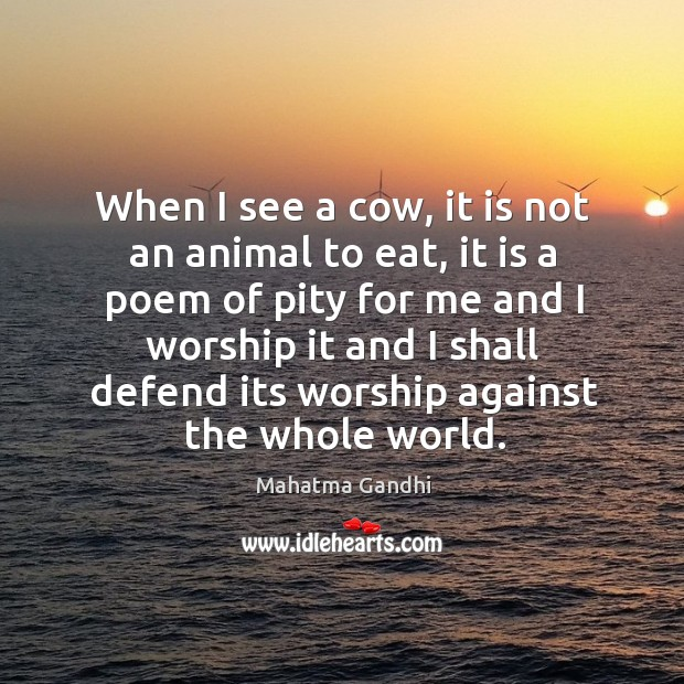 When I see a cow, it is not an animal to eat, Image