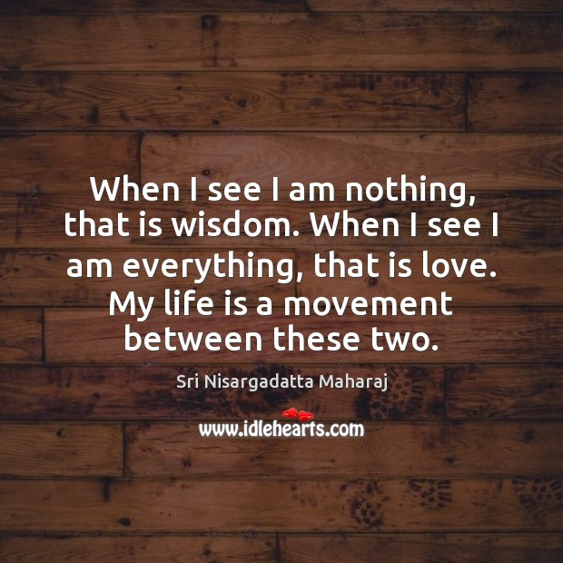When I see I am nothing, that is wisdom. When I see Sri Nisargadatta Maharaj Picture Quote
