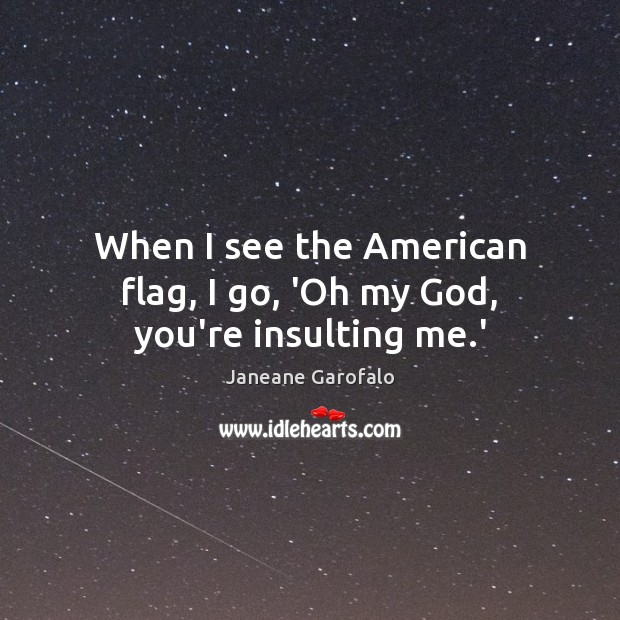 When I see the American flag, I go, 'Oh my God, you're insulting me.' Janeane Garofalo Picture Quote