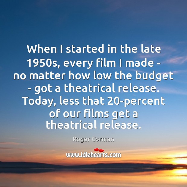 When I started in the late 1950s, every film I made – Roger Corman Picture Quote