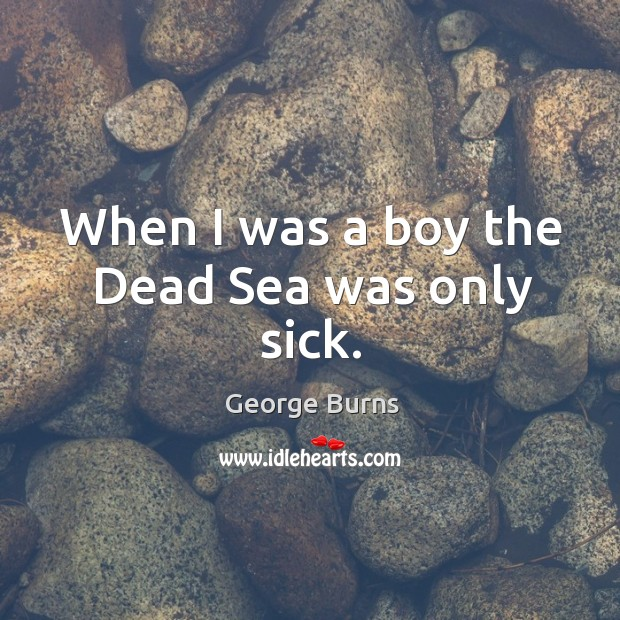 Image, When I was a boy the dead sea was only sick.