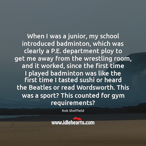 Image, When I was a junior, my school introduced badminton, which was clearly