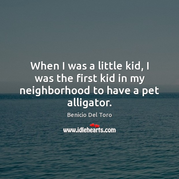 When I was a little kid, I was the first kid in my neighborhood to have a pet alligator. Benicio Del Toro Picture Quote