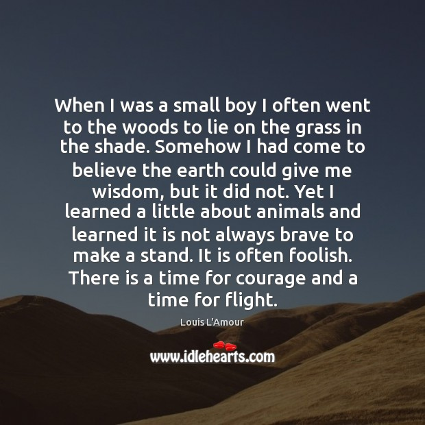 When I was a small boy I often went to the woods Image