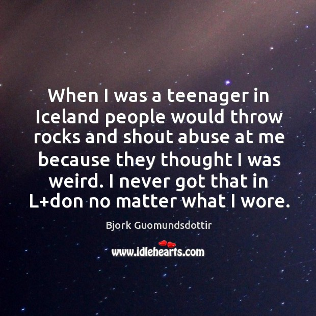 When I was a teenager in iceland people would throw rocks and shout abuse at me because Bjork Guomundsdottir Picture Quote
