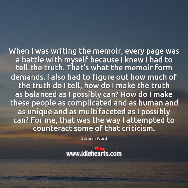 When I was writing the memoir, every page was a battle with Image